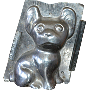 """Antique 8"""" French Bulldog Chocolate Mold w/ Clips"""