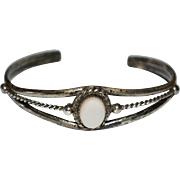 Sterling Silver Mother of Pearl Southwestern Cuff Bracelet