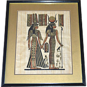 "Egyptian Goddess Isis & Queen Nefertari 19"" Papyrus Art Painting in Black Wood Frame"