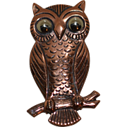 Signed Bell Trading Copper Owl Pin/Brooch