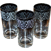 Set of 3 Dorothy Thorpe Ombre Silver Fade Filigree Highball Tumbler Glasses