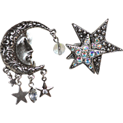 Kirks Folly Crescent Moon & Rhinestone Star Silvertone Dangle Earrings