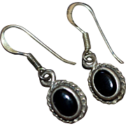 Dainty Sterling Silver Black Onyx Dangle Earrings