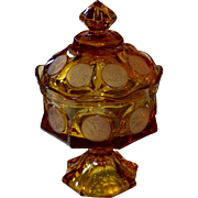 Fostoria Coin Amber Glass Footed Candy Dish or Wedding Bowl