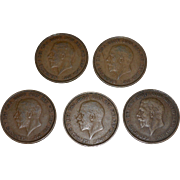 Set of 5 1936 Great Britain King George GEORGIVS Circulated UK Penny Coin
