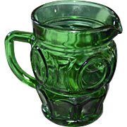 Wheaton Bullseye Circle Block Emerald Green Glass Creamer or Small Pitcher