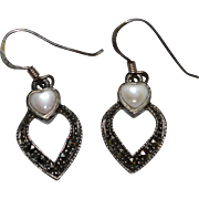 Sterling Silver Heart-Shaped Mother of Pearl & Marcasite Dangle Earrings