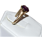 Victorian Amethyst Purple Glass Belcher Setting Gold Shell Ring ~ Size 6 1/4