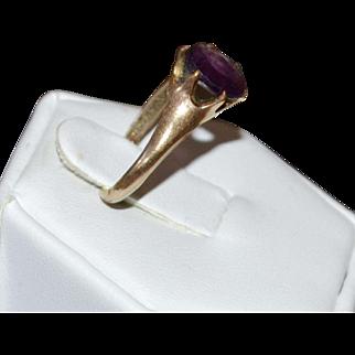Victorian Amethyst Purple Glass Belcher Setting Gold Shell Ring ~ Size 6 1/4