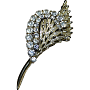 CORO Signed Large Rhinestone Silvertone Spike Flower Brooch/Pin