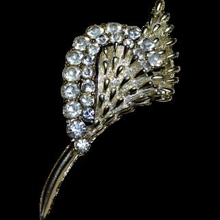 CORO Signed Large Rhinestone Silvertone Spike Flower Brooch/Pin