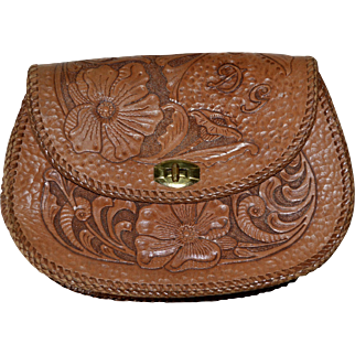 Genuine Hand Tooled Leather Pansy Flower Clutch Purse