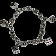 Sterling Silver Black & Red Enamel Dice Charm Link Bracelet