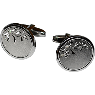 Signed Foster Sterling Silver Round Cuff Links