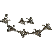 1940s Mexico Sterling Silver Grape Cluster Bracelet & Screwback Earrings