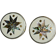 Mexican Abalone Star & Enamel Alpaca Silver Pierced Earrings