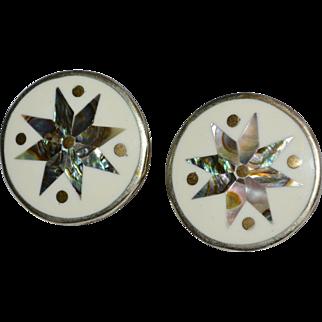 Mexican Abalone Star & Enamel Alpaca Silver Pierced Earrings