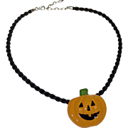 Flying Colors Halloween Jack-o-Lantern Pumpkin Ceramic Pendant w/ Black Cord Necklace
