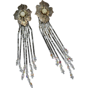 "Signed Sterling Native American 4.5"" Long Glass Fringe Flower Earrings"