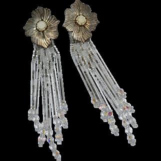 """Signed Sterling Native American 4.5"""" Long Glass Fringe Flower Earrings"""