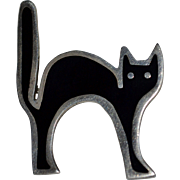Rare Anne Harvey Mexico Scared Black Cat Sterling Pin/Brooch