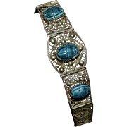 1930s Sterling Silver Blue Faience Scarab Egyptian Inspired Filigree Bracelet