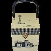 1973 Gail B Haunted Farmhouse Rustic Country Decay Wood Box Purse