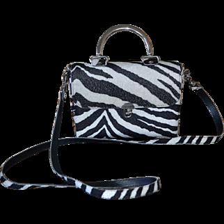 1970s Made in USA Black & White Zebra Pattern Textured Fabric Purse