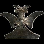 Large Sterling Silver Pre-Columbian Eagle Deity Pendant Pin