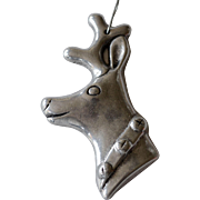 Large Pewter Reindeer Head Christmas Ornament