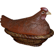 "Huge 17"" Figural Rooster w/ Glass Eyes Carved Wood Folk Art Bread Basket"