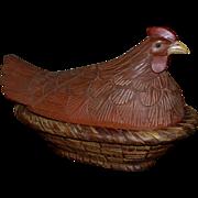 """Huge 17"""" Figural Rooster w/ Glass Eyes Carved Wood Folk Art Bread Basket"""