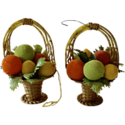 Set of 2 Doubl Glo Flocked Fruit Baskets w/ Holly Christmas Ornaments