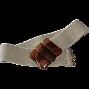 Brown Tortoise Lucite Buckle w/ Hippie Hemp Style Woven Stretch Fabric Belt