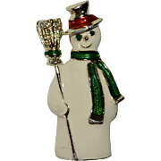 Giovanni Signed White Enamel Snowman Christmas Brooch/Pin