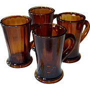 Set of 4 Deep Orange-Brown Thick & Heavy Glass Handle Mugs