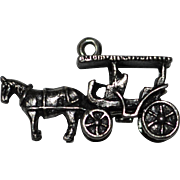 Sterling Silver Detailed 3D Horse & Buggy Charm