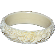 Cream Celluloid Carved Rose Flower Bangle Bracelet