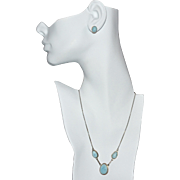 Sterling Silver Blue Larimar Triple Stone Necklace & Post Earrings Set