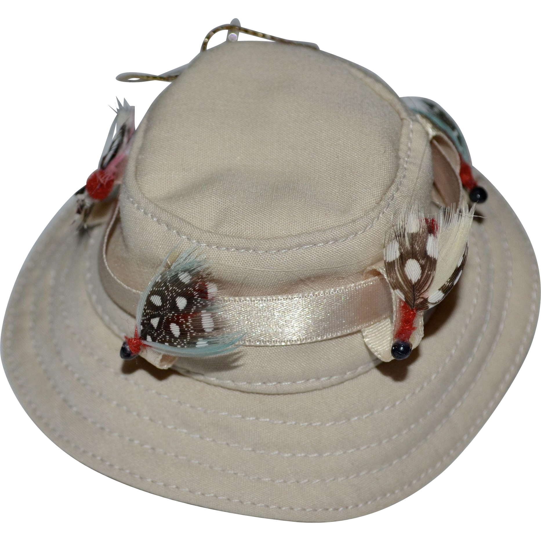 fabric fishing hat w feather lure christmas ornament