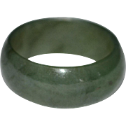 Spinach Green Jade Wide Band Unisex Ring ~ Size 8