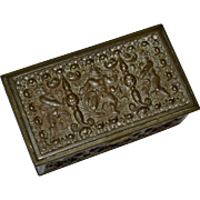 Antique Victorian Era Hallmarked Brass Repousse Cherub Postage Stamp Box