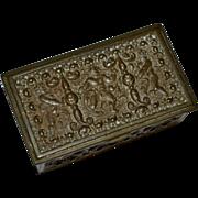 Antique Victorian Era Hallmarked Brass Repousse Cherub Postage Stamp Box