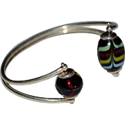 Italian Art Glass Sterling Silver Cuff Bracelet