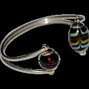 Italian Art Glass Sterling Silver Cuff Bracelet