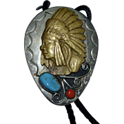 Sterling & Brass Native American Indian Turquoise & Coral Leather Bolo Tie