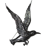 Large Guglielmo Cini Sterling Silver 'Bird in Flight' Brooch/Pin