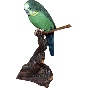 Realistic Hand-Painted Carved Wood Parakeet Bird on Branch Folk Art Figurine