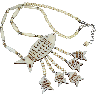 Massive Carved Bovine Fish w/ 5 Babies Large Pendant Necklace