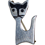 Taxco Eagle 3 Sterling Silver Black Enamel Signed Kitty Cat Pin